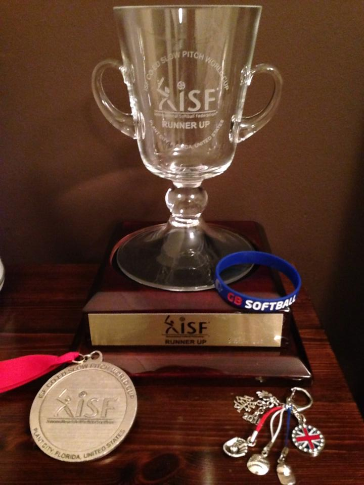 The ISF Slowpitch World Cup R/U Trophy and silver medal
